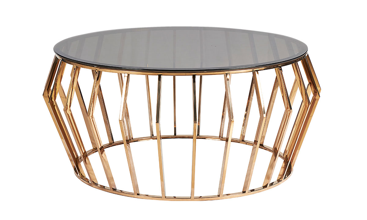 Steel Round Coffee Table Rose Gold